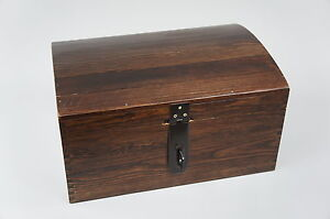 BROWN X LARGE LOCKABLE TREASURE CHEST WOODEN BOX MEMORY BOX TRINKET GIFT SO22bL