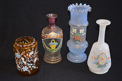 Choice 1 of 3 Victorian Glass Vases antique hand painted hand blown small 1 sold