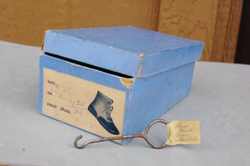Hopkins Antique Button Baby Shoe Box Only & Metal Button Hook ID