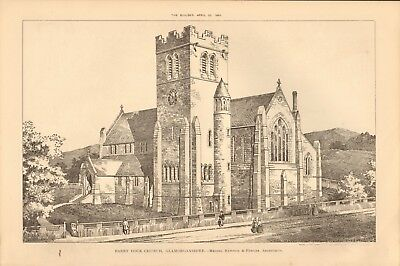 1891 ANTIQUE PRINT- ARCHITECTURE - WALES - BARRY DOCK CHURCH, GLAMORGANSHIRE