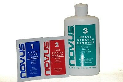 NOVUS #1 #2 #3 KIT PLASTIC POLISH SCRATCH RESTORATION CLEANER (Restore Scratched Plastic)