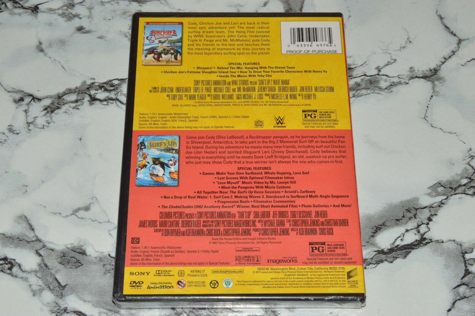 NEW - Surf s Up 1 2 WaveMania - Double Feature DVD, 2017  - $12.68