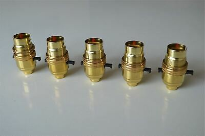 5 BRASS SWITCH BAYONET FITTING LAMP BULB HOLDER LAMP SHADE RING 1/2 INCH R1