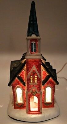 Christmas Village Church Light Up House Snow Hand Painted Fine Porcelain w/ Cord