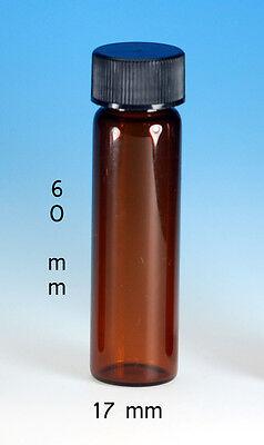 72 Pcs 2 Dram Amber Glass Vials Wscrew Caps 17x60mm
