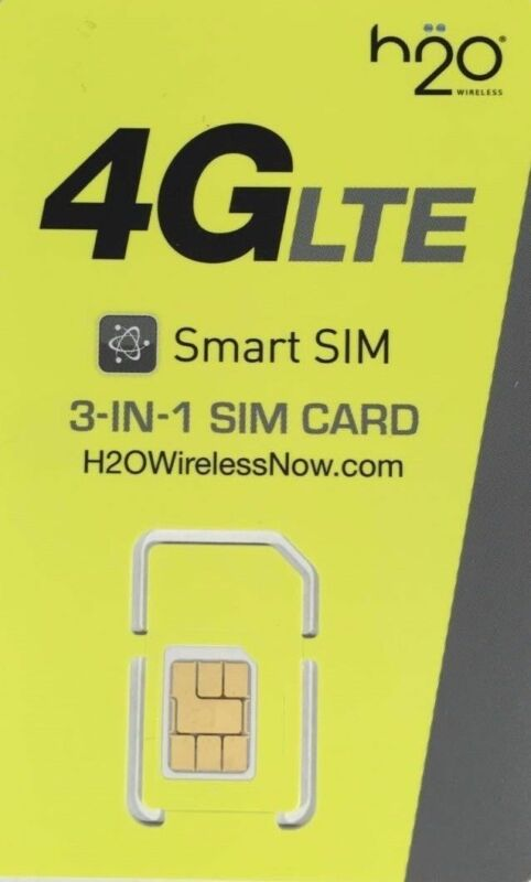 H2O Wireless AT&T Compatible Triple (any size) SIM Card Prepaid