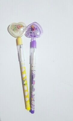 2 X Push Up Pencils Pop Up Pencils with Replicable Nibs with Cute Lid For Kids