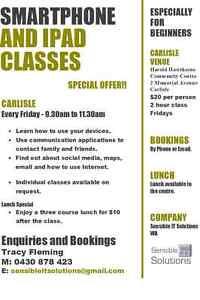 Smartphone/iPad Classes starting in Carlisle Carlisle Victoria Park Area Preview
