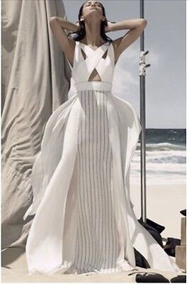 NWT BCBG MAXAZRIA RUNWAY KATERINA Beach bridal MAXI slit Cage Back Dress 0 $698