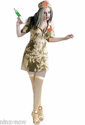 Walking Dead Zombie Dirty Nurse + Syringe womens Halloween fancy dress costume (Dead Nurse Costume)