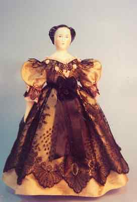 "13-16""ANTIQUE CHINA HEAD/PARIAN LADY DOLL CLOTH BODY&DRESS&UNDERWEAR PATTERN"