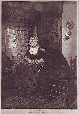 Holzstich Am Kamin  Paul Höcker ca.1880 schwarz weiß Friesische Trachten