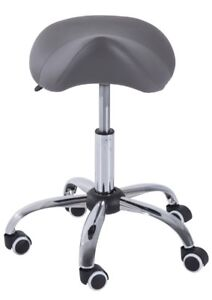 Adjustable hydraulic rolling stool swivel PU leather GREY