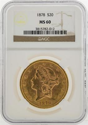 1878  20 Liberty Head Double Eagle Gold Coin Ngc Ms60 Lot 19