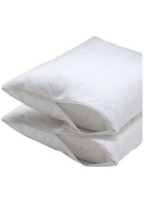 2pk Standard Size Pillow Protector Cover Case 20x26 Zippered 100% Cotton