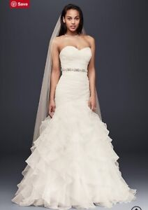 Organza Mermaid Wedding Dress with Lace-Up Back