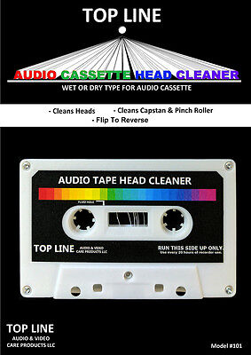 Top Line Audio Cassette Tape Head Cleaner  Dry Non Abrasive  101   New Sealed