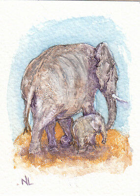 ACEO Miniature Card Original Watercolour & Acrylics - New Arrival - Elephants