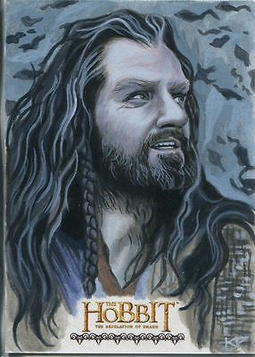 The Hobbit Desolation Of Smaug Hand Drawn Sketch Card By Kris Penix