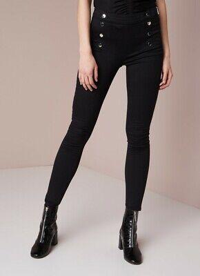 Ex Karen Millen Black High Waisted Button Leggings Jeans Size 6