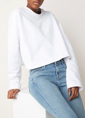 NEW Acne Studios Odice Emboss Cropped Sweater Sweatshirt - White - Small