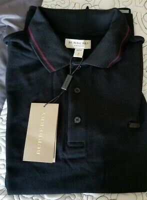 Burberry polo shirt Womans  BLACK/MAHOGANY RED SIZE small MSRP (Womens Red Burberry Polo)
