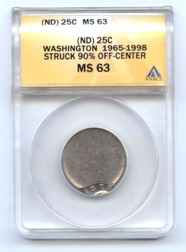 1965-1998- (ND) WASHINGTON QUARTER (25C) 90% OFF CENTER-ANACS MS63-RARE-MINT
