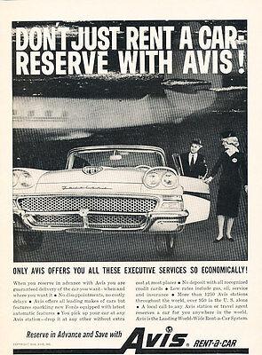 1958 Fairlane Ford Avis Rental Car Vintage Advertisement Car Print Ad J488