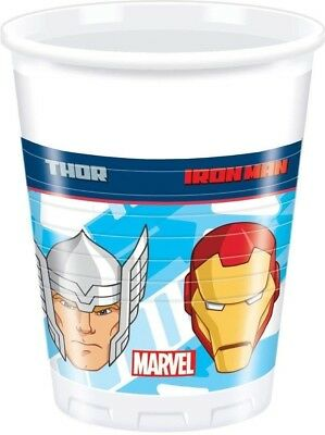 Unique Party 71711 - 200ml Marvel Avengers Plastic Cups, Pack of 8