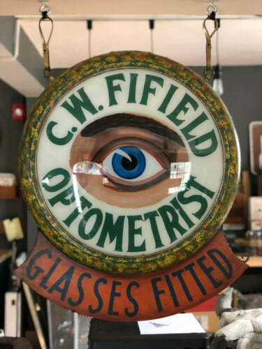 Antique Optometrist Trade Sign, Reverse Painted Glass Eyeball Optometry Sign