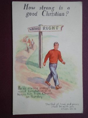 "POSTCARD RELIGIOUS ""HOW STRONG IS A GOOD CHRISTIAN?"" - WRONG / RIGHT"