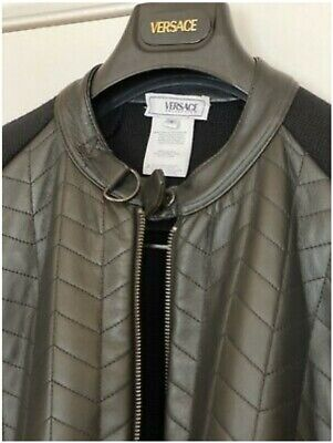 Versace bomber jacket zip jumper as worn by celebs RRP £1200 wool and leather!