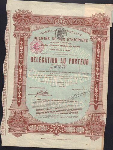 ETHIOPIA  RAILWAY Chemins de Fer Ethiopiens 1910
