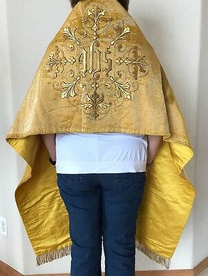 Antique Vestment Stole Metallic GOLD Stumpwork Embroidered Religious Made France