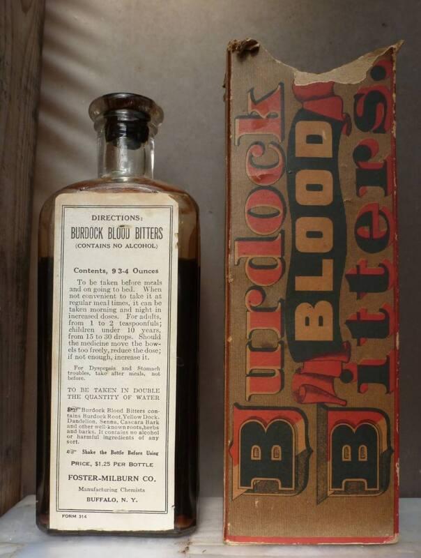 BURDOCK BLOOD BITTERS BOTTLE-Embossed-Label-Contents-Original Box-c1880s