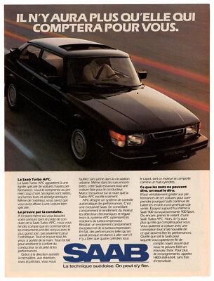 1984 SAAB Turbo APC Vintage Original Print AD - Black car photo Canada French for sale  Quebec
