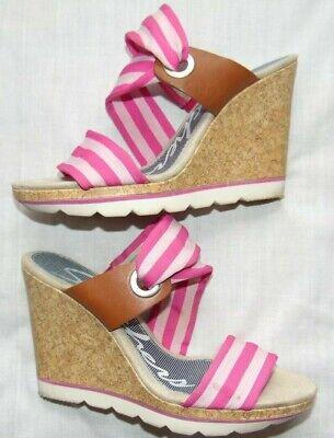 - Womens Pink SKECHERS Cork Wedge Platform Heels Sandals Shoes Sz 8