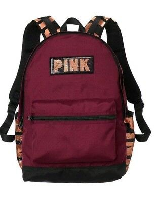 Victorias Secret PINK Campus School Backpack Ruby Sequin Bling NWT - Sequin Pink Backpack