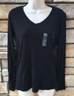 Jcp Shirt M L Shirt Womens Black V Neck Long Sleeve 100  Cotton Nwt