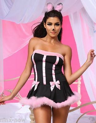 Sexy PUSSY CAT Costume SET Dress & Ears Women's fancy dress costume fits 8-14 - Pussy Costume