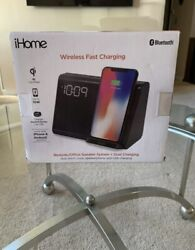 New iHome Bluetooth Dual Alarm Clock with Wireless Qi Charging