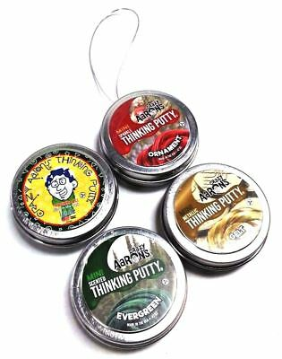 Crazy Aarons Thinking Putty Holiday 4 Pack Evergreen Ornament Icicle Gelt  47Oz