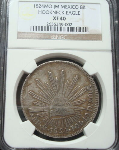 1824 Mo JM Mexico 8 Reales Silver HOOKNECK EAGLE NGC EF40