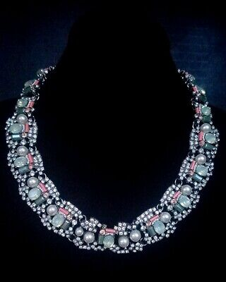 Beautiful Large Statement Signed ZARA Multi Colored Rhinestone Necklace Costume