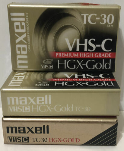 3 Maxell HGX-Gold TC-30 Premium High Grade Camcorder Blank Video Tape VHS-C New