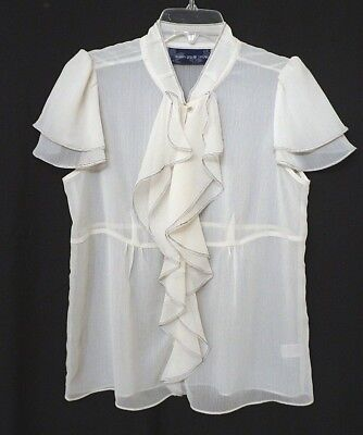 SUSAN GRAVER Size S Ivory Sheer Chiffon Ruffled Cap Sleeve Blouse A93438