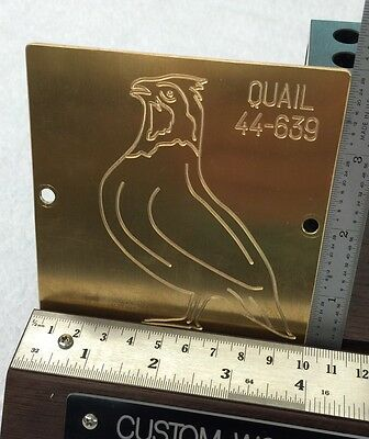 Bobwhite Quail Master Template For New Hermes Engraver Solid Brass Engraving