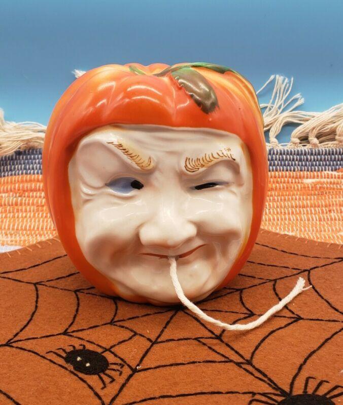 Vintage Halloween Pumpkin Head String Holder Jack O Lantern Winking Witch