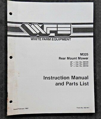 White Field Boss Tractor 48 60 72 Rear-mount Mower Operators Parts Manual