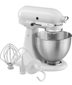KitchenAid K45SSWH Classic 4.5-Quart Bowl Stand Mixer, White